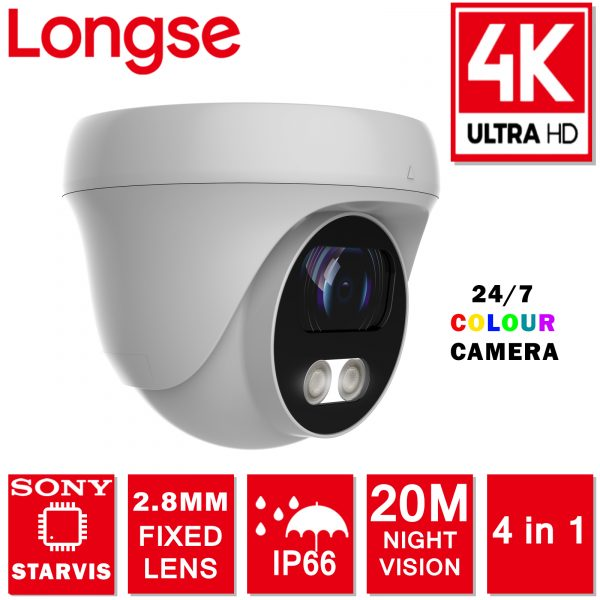 LONGSE CCTV CAMERA COLOUR 5MP 8MP 4K UHD 2